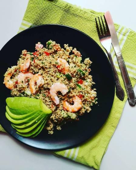 Taboulé semoule complète, avocat crevettes - Wadji, Cooking Mama