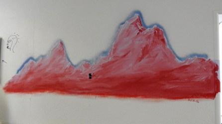 Nicht zu kaufen: Bergkette auf der Spitalwand.