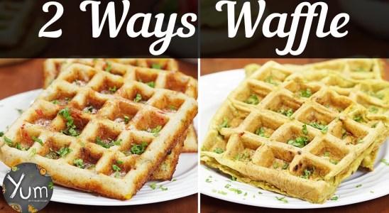 2 Ways Waffles   Bell Pepper Dosa Waffle   Masala Omelette Waffle