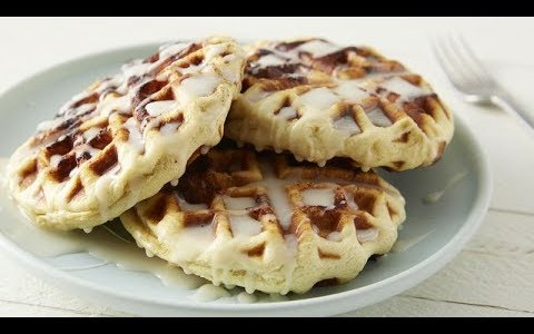 Cinnamon Roll Waffles With Cream Cheese Glaze | Pillsbury Recipe