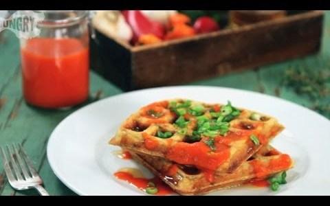 Homemade Sriracha with Savory Waffles