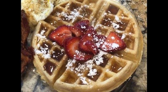 Homemade Waffles & Strawberries