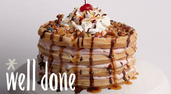 How to Make Banana Split Waffle Cakes | Recipe | Well Done