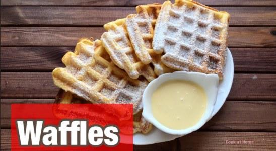 Cheese waffles.  Viennese waffles.  Waffles recipe.  Waffle iron. Redmond