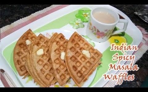 Eggless Spicy Masala Crispy Waffle Recipe