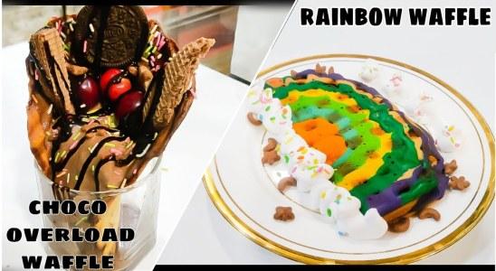 2 way waffles recipe   Rainbow waffle, Choco overload waffle   Navya kitchen