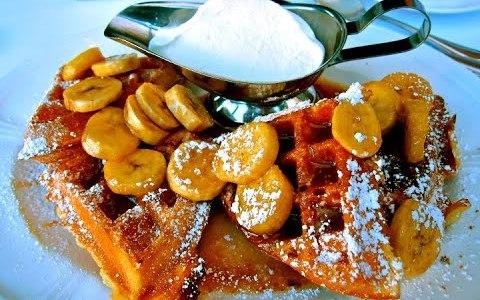 Bananas Foster Belgian Waffles Recipe