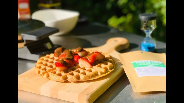 "Healthy waffle recipe with new Unified Food (""U-Food"") waffle mix"