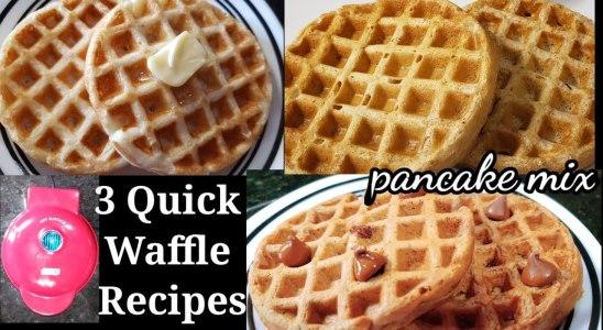 3 Quick Waffle Recipes with pancake mix/ No egg waffle /Dash waffle maker