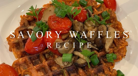 Delicious Savory Waffles Recipe (with Creamy Mushroom Sauce) | Plant-based