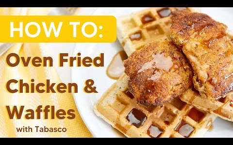 SPICY Oven Fried Chicken & Waffles Recipe | protein dinner recipes