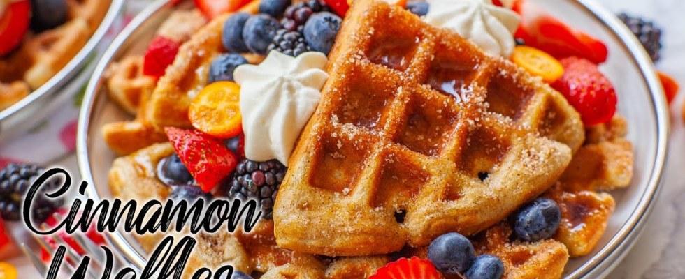 Cinnamon Sugar Buttermilk Waffles - Super Fluffy!