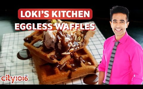 Eggless Waffles in Loki's Kitchen