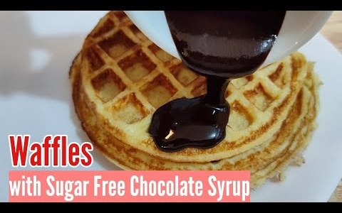 Keto Waffles with Chocolate Syrup! Low Carb Diet Recipe