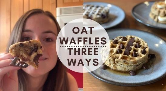 Vegan Oat Waffles - 3 easy recipe ideas - gluten free, no flour!