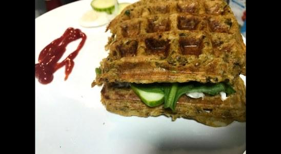 leftover waffle sandwich   Waffles from dal rice   vegan leftover waffle