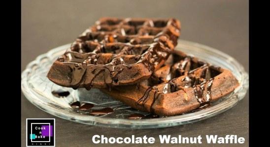 CRISP CHOCOLATE WALNUT WAFFLES | Choco Walnut | NO EGGS | NO WAFFLE MAKER / IRON