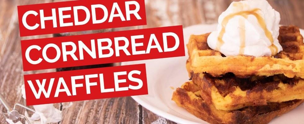 Cheddar Cornbread Waffles with Bourbon Maple Syrup