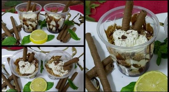 Choclate hazelnut waffles dessert in a glass Recipe|chocolate dessert in a glass sweet dish recipe