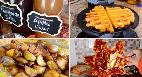 DIY Fall Brunch Recipes + Mimosa Bar | pumpkin waffles, breakfast potatoes and maple chicken wings
