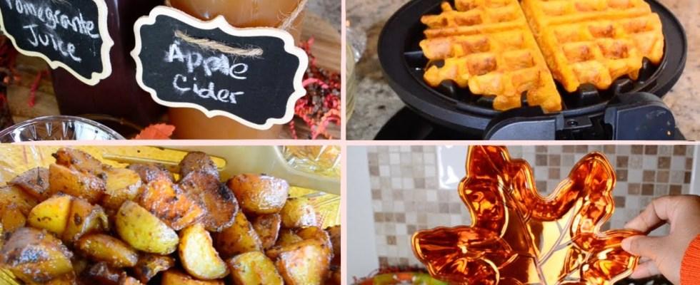 DIY Fall Brunch Recipes + Mimosa Bar | pumpkin waffles, breakfast potatoes and maple chicken wings