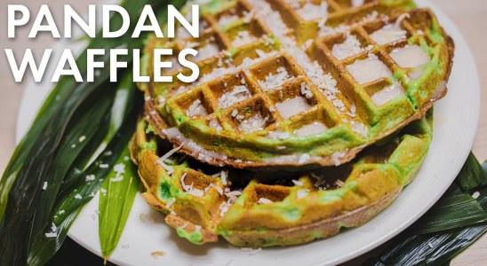 Easy Pandan Waffle Recipe [VEGAN, ASMR COOKING SOUNDS]