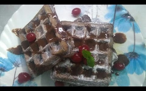 Eggless chocolate waffle recipe