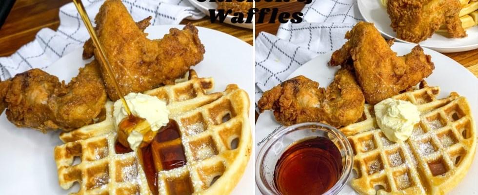 How to make Fried Chicken & Waffles|| Crispy Fried Chicken|| Waffles||