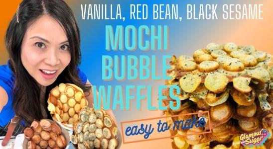 HONG KONG BUBBLE WAFFLES MOCHI STYLE! Easy vanilla, red bean, black sesame recipe |Glamour and Sugar