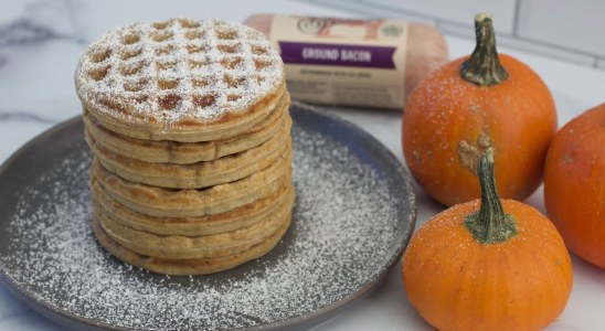 Pumpkin Spice Bacon Waffles