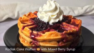 Kodiak Cake Waffles with Mixed Berry Syrup | Kodiak Protein Waffles Recipe