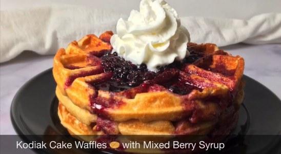 Kodiak Cake Waffles with Mixed Berry Syrup | Kodiak Protein Waffles Recipe