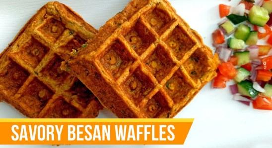 Savory Besan (Chickpea Flour) Waffles Recipe | Gluten-Free Waffles