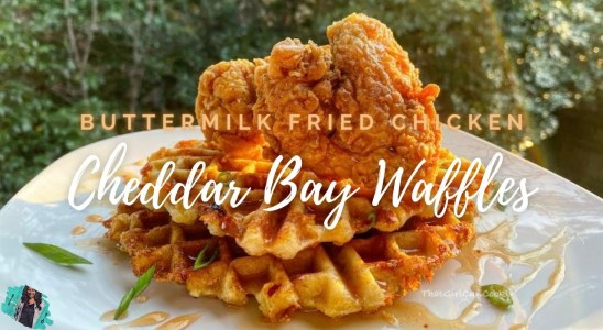 THE BEST CHICKEN AND CHEDDAR BAY WAFFLES + SWEET & SPICY HONEY | EASY & DELICIOUS RECIPE