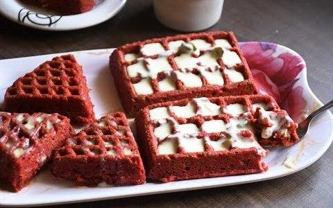 Red Velvet Waffles Recipe - Eggless Version