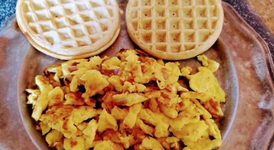 Tasty scramble eggs & waffles recipe.