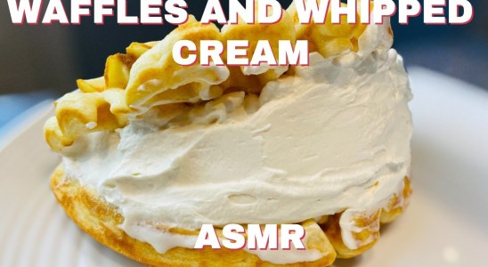 Whipped Cream Filled Waffle   Chocolate and Glazed Waffles   ASMR