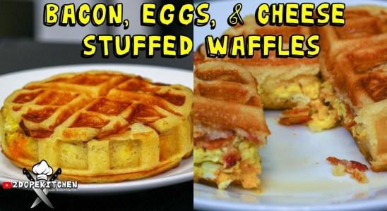 Bacon,  Eggs, and Cheese Waffles | Easy Stuffed Waffle Recipe!