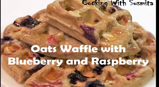 Blueberry and Raspberry Oats Waffle I Healthy Breakfast Recipe