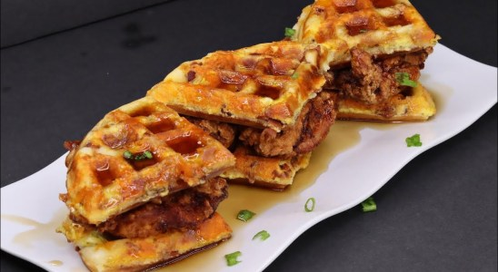Buttermilk Fried Chicken and Bacon Egg and Cheese Waffles | Chicken and waffles Recipe