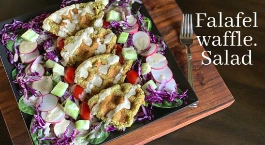 Falafel Waffle Salad With Tahini Sauce | Gluten free Recipe | No Oil