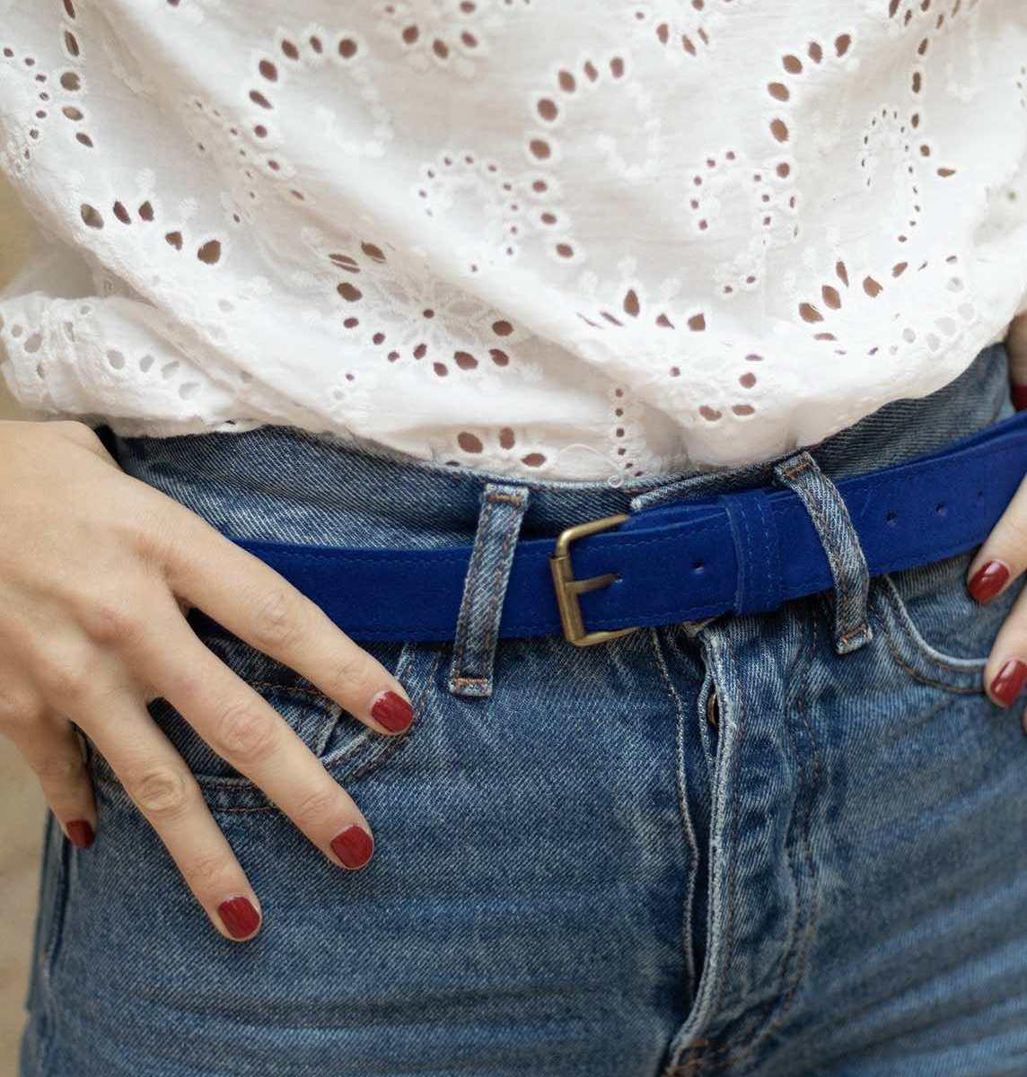 Wagapé ceinture cuir daim bleu majorelle disponible en 3 tailles