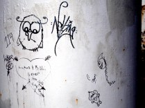 Graffiti on the far side of the lighthouse.