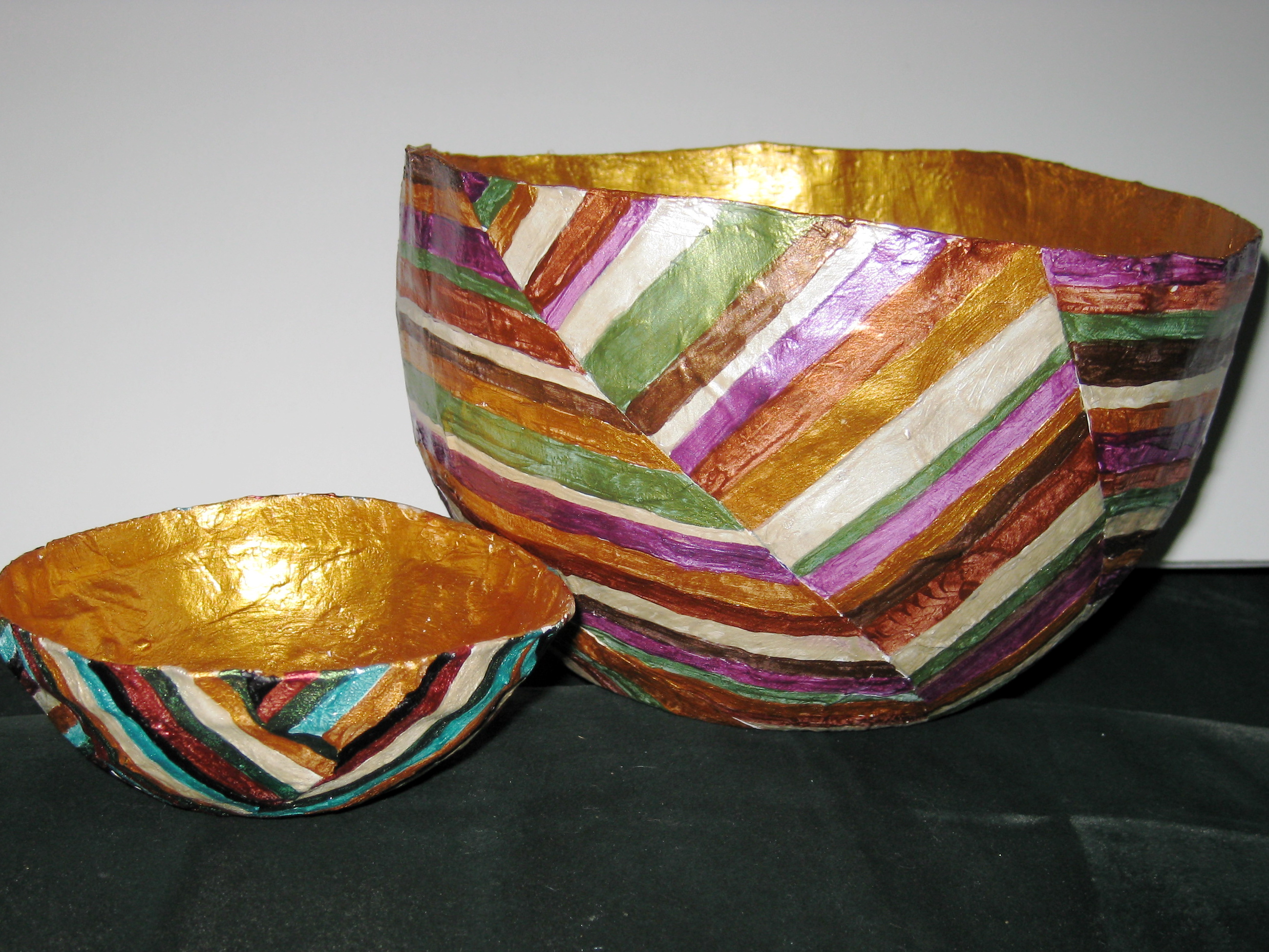 "Two Bowls, one 4"" and one 7"" - papier mache"