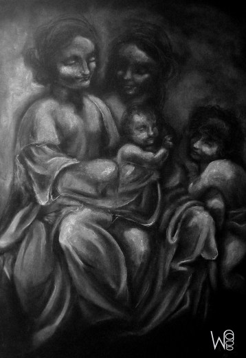 """""""Virgin and Child with Saint Anne"""" ; Size: B2 (70x50cm)"""