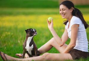 Dog playing fetch with woman.