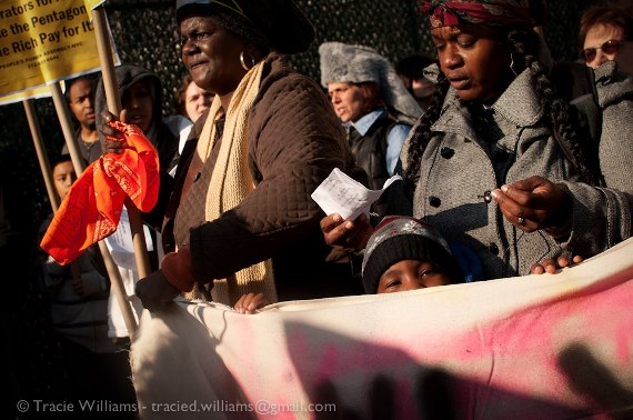 Residents of Far Rockaway protest the lack of government response after Hurricane Sandy. (©Tracie Williams)