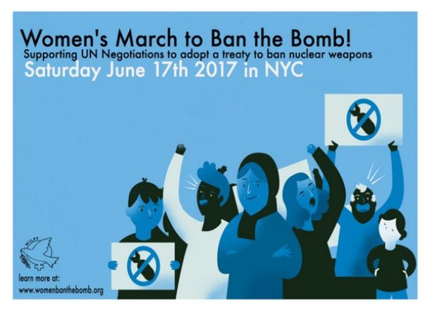 """An ad for the women's """"ban the bomb"""" march."""