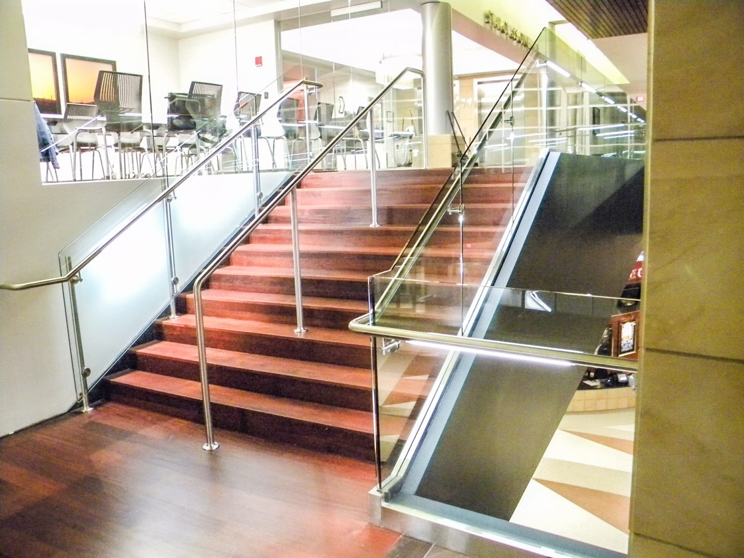 Is A Top Rail Required For Glass Railing Update On This   Glass Panel Stair Railing   Toughened   Square   Framed Glass   Staircase   Banister