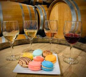 wine and macaron pairing in the cellar with the wine barrels